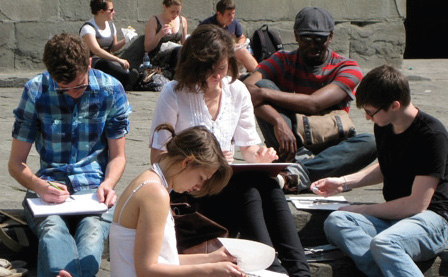 Barcelona Students Sketching
